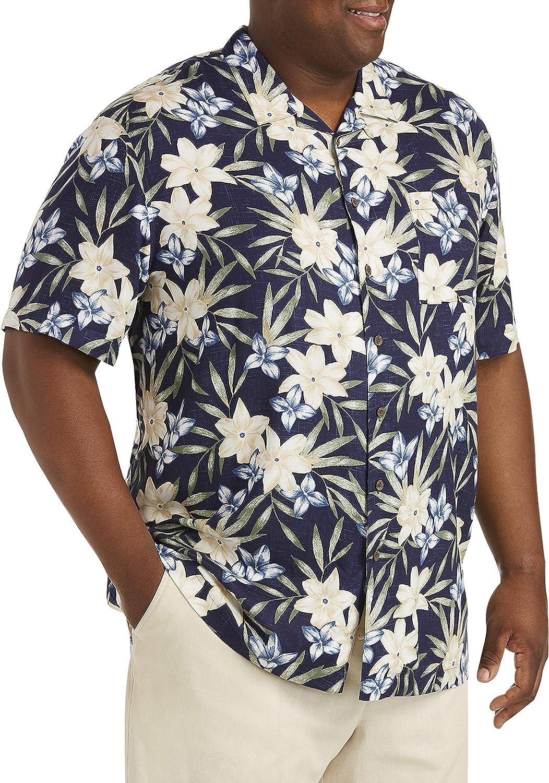 Island Passport by DXL Big and Tall Floral Sport Shirt, Navy