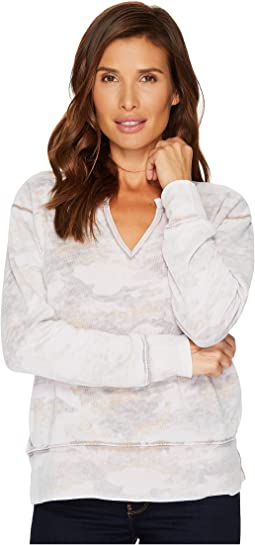 Allen Allen - Camo Long Sleeve Split-Neck Top