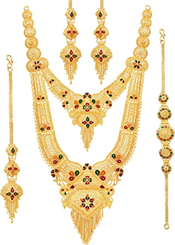 Bridal Party One Gram Gold Original Wax Forming Work Premium Rani Haar Juelry jwelery Jualary Long Neckalce BridalJewellery Set for Women 10 5 Inch Long