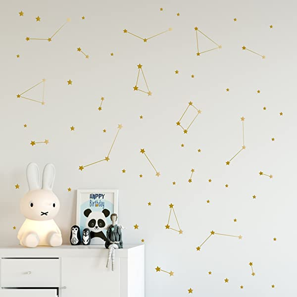 Gold Constellation Wall Decals Removable Space Nursery Vinyl Stickers Milky Way Stars 96 Elements