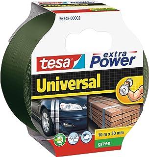 tesa extra Power Universal Gewebeband - Gewebeverstärktes Ductape zum Reparieren, Befestigen, Bündeln, Verstärken oder Abdichten - Grün - 10 m x 50 mm
