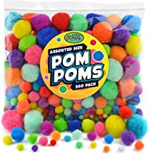 Carl & Kay Jumbo Assorted Size 360 Pom Poms for Crafts, Creative Kid's Gift, Multi Colored Big Pompoms, Jumbo & Large Craf...