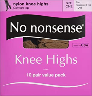Women's 10 Pair Value Pack Knee High Pantyhose with Reinforced Toe, Tan, One Size