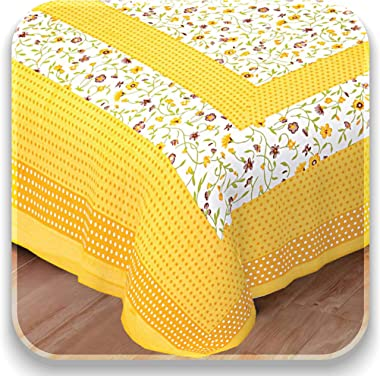 Bedsheets Cotton Floral Flat 144 TC Single bedsheet with Pillow Covers(Yellow & White)