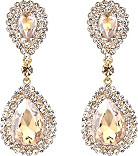 Women's Fashion Wedding Bridal Crystal Teardrop Infinity Dangle Earrings