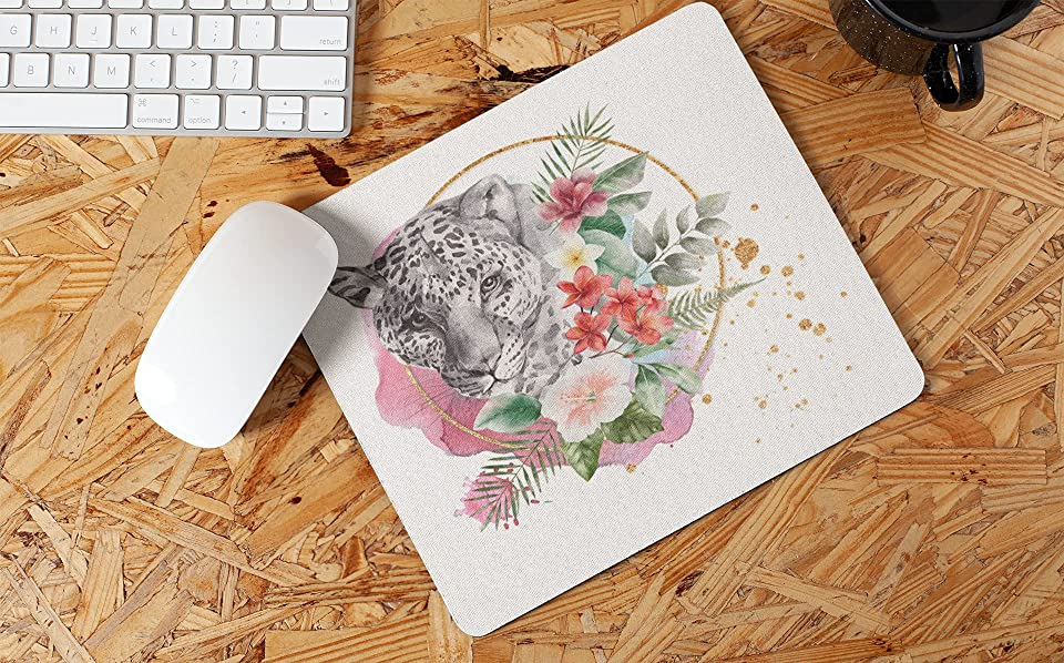 Leopard And Flowers Watercolour Non Slip Mouse Mat/Mouse Pad