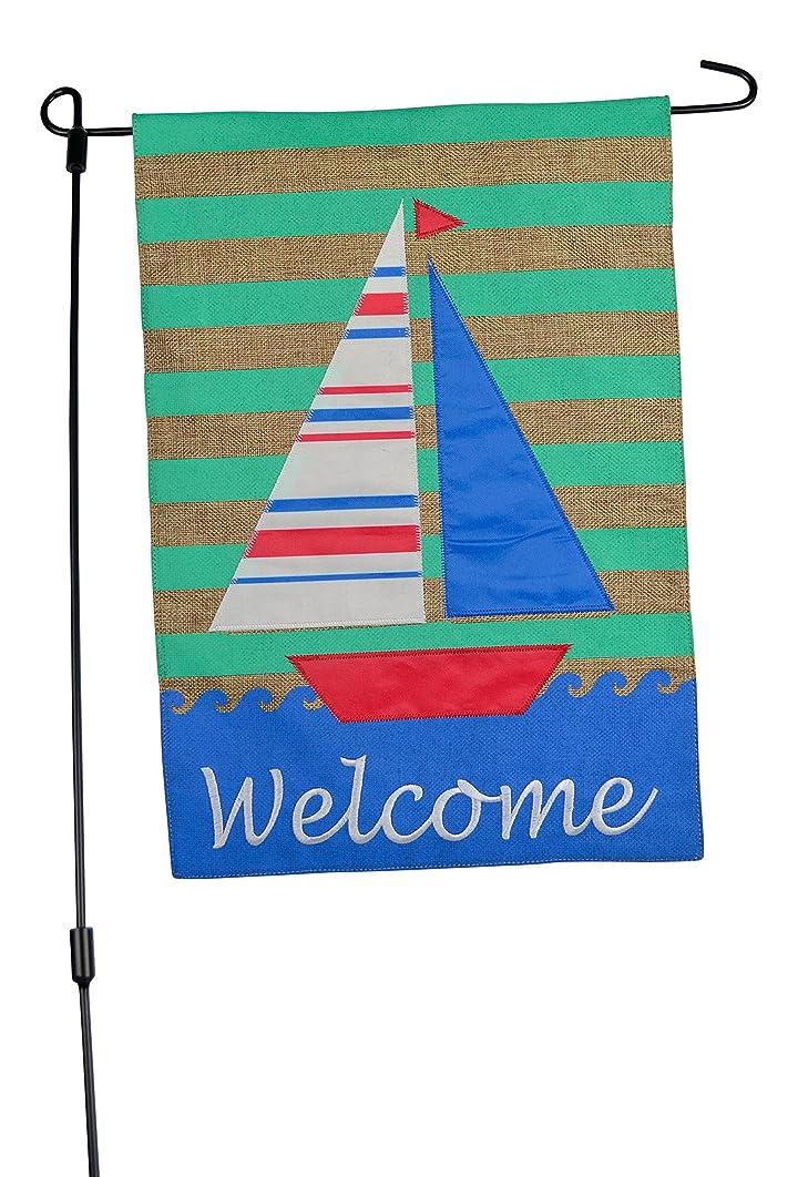 Welcome Coastal and Sailboat Home Garden Flag - 12.5x18 Summer Garden Flag on Burlap