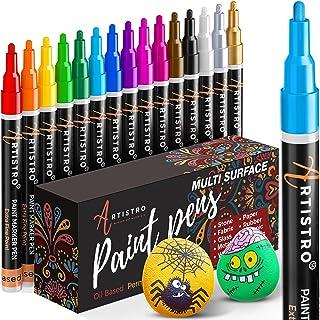 Verf pennen voor rotsschilderen, steen, keramiek, glas, hout, porselein, mokken, metaal, stof, canvas, 15 stuks, sneldroge...
