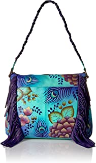 Women's Genuine Leather Medium Fringed Hobo Shoulder bag | Hand Painted Original Artwork | Peacock Green
