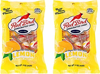 Red Bird Lemon Candy Puffs 2 Pack of 4 oz bags (8 oz Total) | Gluten Free | Kosher | Free from Top 8 Allergens | Made with 100% Pure Cane Sugar | Melt-in-Your-Mouth | Individually Wrapped Candy