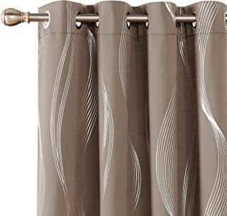 Deconovo Khaki Blackout Curtains Thermal Insulated Drapes Wave Striped Foil Print Room Darkening Grommet Curtain Panels for Girls Room 52x72 Inch Set of 2