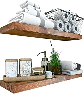 BAOBAB WORKSHOP Wood Floating Shelves Set of 2 - Rustic Shelf 24 inch - Made in Europe - Wide Wooden Wall Shelves for Livi...