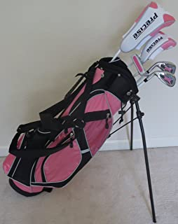 Left Handed Girls Junior Golf Club Set with Stand Bag for Kids Ages 8-12 Pink Color LH Premium Professional Quality