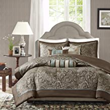 Madison Park Aubrey Duvet Cover King/Cal King Size - Blue, Brown , Paisley Jacquard Duvet Cover Set – 6 Piece – Ultra Soft Microfiber Light Weight Bed Comforter Covers