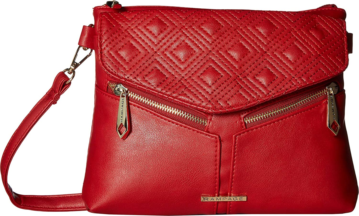 Rampage Womens Diamond Double Quilted Crossbody Red One Size