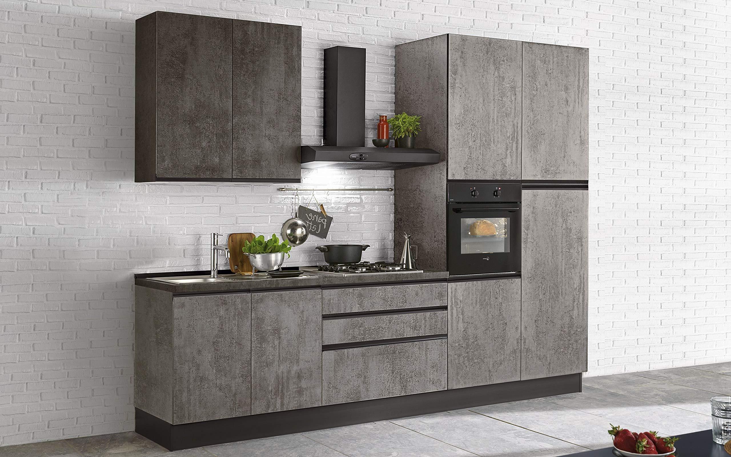 Cocina completa - Lado DX cm. 300 x 60 x 243 h - Incluye: campana extractora, horno ventilado, lavabo, frigorífico, heladera, placa de cocción a gas con 4 fuegos, n.º 8 y 3 cajones.: Amazon.es: Hogar