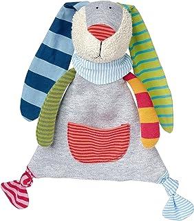 Sigikid 41274 - Mädchen und Jungen, Schnuffeltuch Hase, Ringeldingelhase, grau/bunt