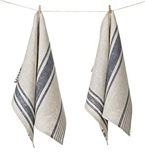 Pure Flax Linen Kitchen Tea Towels, Set of 2, 17 x 27 inches, Natural Grey and Navy Striped