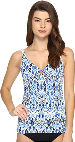 Ikat Over the Shoulder Tankini Top with Ring
