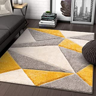 Well Woven Walker Yellow Triangle Boxes Thick Soft Plush 3D Textured Shag Area Rug 8x10 (7'10