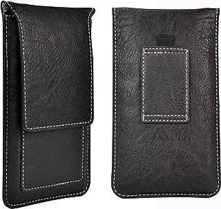 """Universal 5"""" Smartphone Leather Holster Pouch Belt Clip Case for LG Escape 2 / LG G2 / LG Nexus 5 / Leon LTE / Lancet / Lucid 3 / Realm / Spectrum / Transpyre / Tribute / Volt (Black)"""