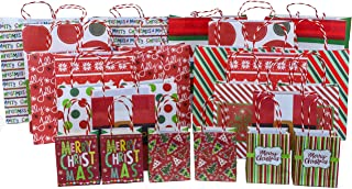 Christmas Gift Bag Kraft Variety Pack (24 Pieces) - 24 High Quality Kraft Gift Bags Various Sizes - iDeal Brandz (No Foil)