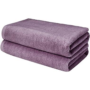 AmazonBasics Quick-Dry, Luxurious, Soft, 100% Cotton Towels, Lavender - Set of 2 Bath Sheets