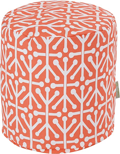 Majestic Home Goods Orange Aruba Indoor Outdoor Bean Bag Ottoman Pouf 16 L X 16 W X 17 H
