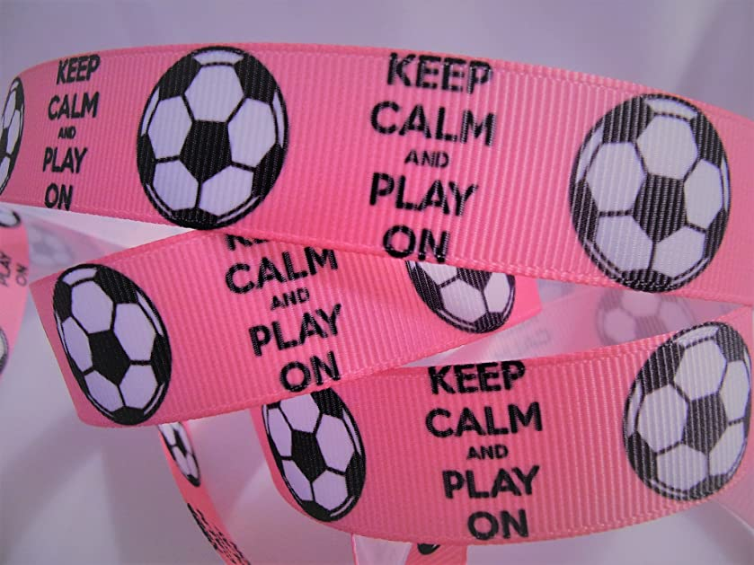 Grosgrain Ribbon - Keep Calm and Play ON - Hot Pink Soccer Print - 7/8