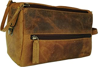 Genuine Buffalo Leather Unisex Toiletry Bag Travel Dopp Kit By Vintage Couture (BROWN BUCKLE)