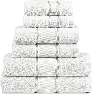 MIMAATEX 6 Pieces Towel Set Zero Twist Ultra Soft Long Staple Cotton- Set Includes-2 Bath, 2 Hand and 2 Wash Cloth (White)