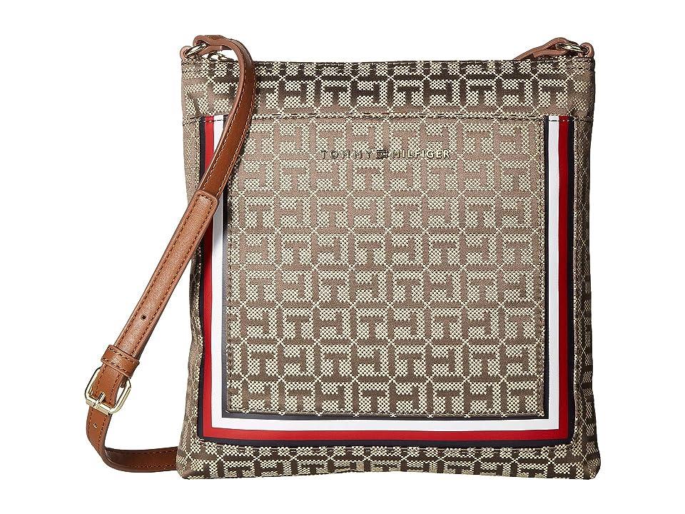 Tommy Hilfiger Carmen North/South Crossbody (Khaki Tonal) Cross Body Handbags