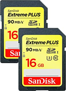 SanDisk Extreme Plus 16GB SDHC UHS I U3 memory card, Twin pack, up to 90MB/s read