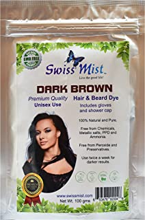 Swiss Mist - Dark Brown Henna Hair Dye 100% Natural, No Chemicals, Metallic Salts, PPD, Ammonia, Peroxide, GMO-Free, Triple sifted for Quality, Guaranteed Freshness - 100 Grams (3.52 oz)