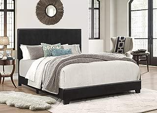Crown Mark Upholstered Panel Bed in Black, Queen (Renewed)