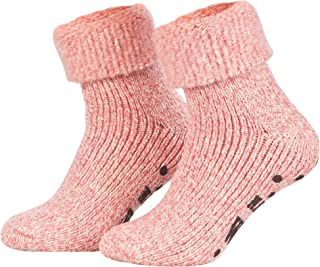 Piarini - 1 paio di morbide calze norvegesi invernali in lana con suola ABS antiscivolo
