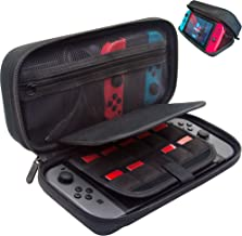 [Large Model] ButterFox Hard Case Stand for Nintendo Switch,Fits Wall Charger,Built-in Stand, 18 Game card holders, Large Pouch Case for Nintendo Switch Console and Accessories Red/Black (Black)