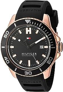 Tommy Hilfiger Men's Quartz Gold and Silicone Watch, Color:Black (Model: 1791266)