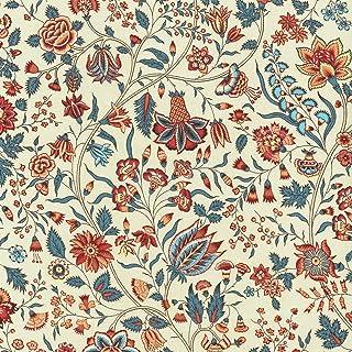 Textiles français Tissu Floral de 100% Coton imprimé - Les Fleurs d'Inde - Rouge, Bleu, pêche et Jaune (sur Fond Blanc crè...