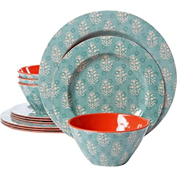 Rainbow Circles Pack of 12 Gibson Studio COMINHKG093699 Line by Laurie Gates 94911.12 Party 12 Piece Melamine Dinnerware