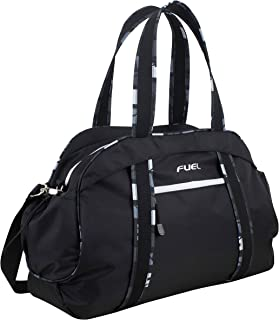 Sport Carryall Duffel For Gym, Travel or Weekend Gateway, Black with White Zippers