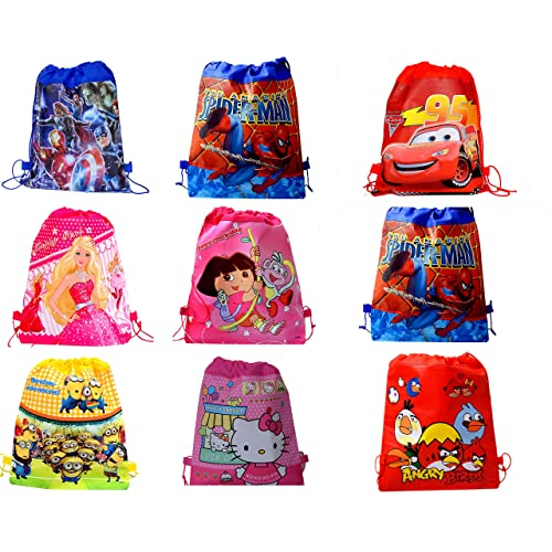 SR GIFTS Cartoon Printed Haversack Bag For Kids Birthday Party Return GiftPack Of 12