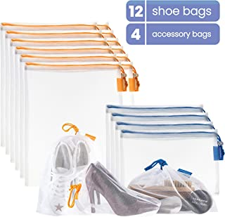 VANDOONA Set of Mesh Shoe Bags – Shoe Storage Bag, Accessories Bag for Travel, Home Organization, Sports, Outdoors, Gym. Transparent Color-Coded Drawstrings (12 Large Bags, 4 Small Bags)