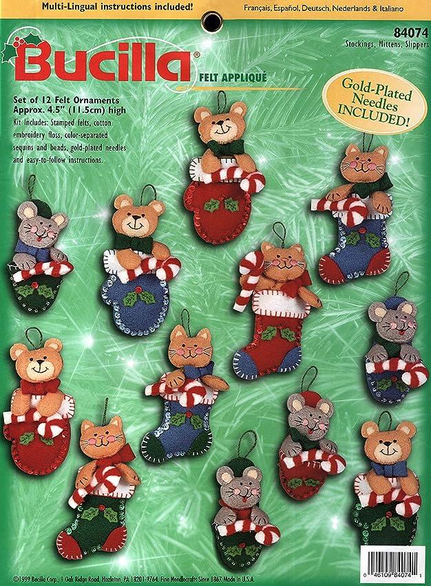 Bucilla Stockings, Mittens, Slippers - Felt Applique Ornament Kit 84074