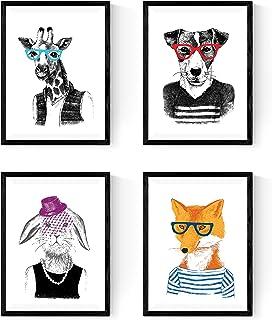 Nacnic Set de Cuatro láminas Animales ILUSTRADOS. Posters