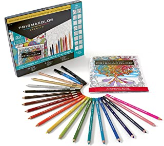 Prismacolor Premier Coloring Kit with Colored Pencils, Art Markers and Adult Coloring Book, 22 Pieces