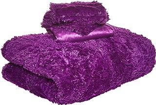 Luxe 2724297556900 Soft Faux Fur Double Set Of 6-piece Solid Bedding Set King, Purple, W 56.2 x H 54.4 x L 18.6 cm