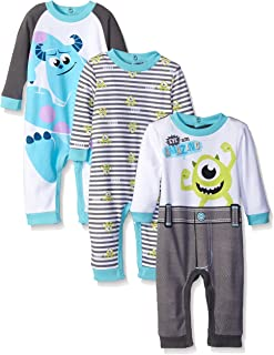 Disney Baby Boys' Monsters Inc Mike and Sully 3 Pack Coveralls