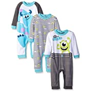 Disney Baby Monsters Inc Mike and Sully Coveralls, Blue, 9 Months (Pack of 3)