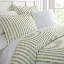 ienjoy Home 3 Piece Rugged Stripes Patterned Home Collection Premium Ultra Soft Duvet Cover Set, King, Sage